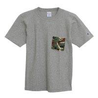 目玉Champion(チャンピオン) リバースウィーブポケット付きTシャツ (カラー【071】グレー×グリーン)