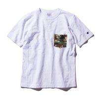 目玉Champion(チャンピオン) リバースウィーブポケット付きTシャツ (カラー【011】ホワイト×ブラック)