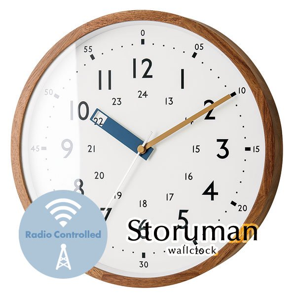 ウォールクロック 24時間 電波時計 [Storuman/ブルー]