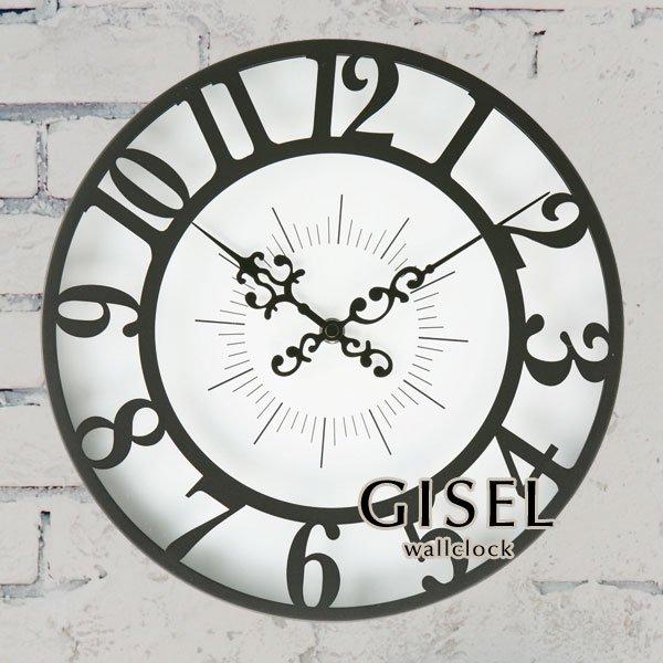 ウォールクロック ガラス クラシック 掛時計 [GISEL]