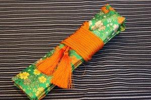 篠笛入れ(袋)桜 緑<br>房式