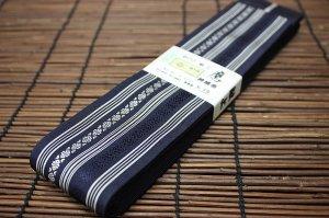 平ぐけ帯 正絹 (紺×白)