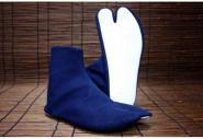 《雪駄用足袋 刺子藍染》<br>[足袋底-白 5枚コハゼ