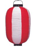 ビニール提灯 15号長 紅白<br>赤枠  42φ×80cm