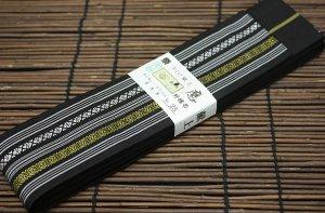 平ぐけ帯 正絹 (黒×金)