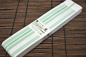 平ぐけ帯 正絹 (白×緑)