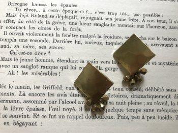真鍮スクエアプレート&サイコロピアス