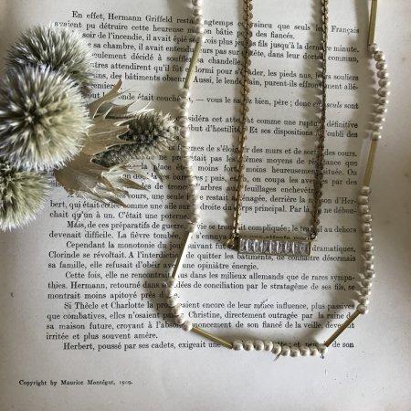 ウッドパールパイプ&バゲット2連ネックレス