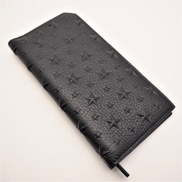 【中古美品】 JIMMY CHOO (ジミーチュウ) 長財布 二つ折り COOPER EMG BLACK