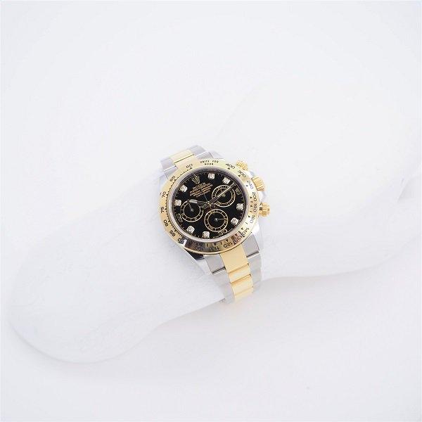 【中古】ROLEX(ロレックス) コスモグラフ デイトナ ブラック 8Pダイヤ イエローロレゾール 116503G