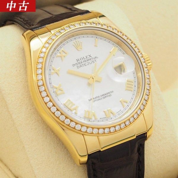 【中古】ROLEX(ロレックス)デイトジャスト YG  ダイヤベゼル ホワイトシェル Ref:116188NR D品番
