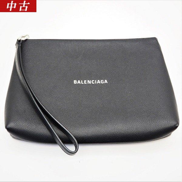 【中古美品】BALENCIAGA(バレンシアガ)メンズクラッチバッグ ロゴプリント ポーチ ストラップ付き