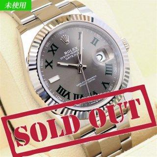 【未使用】 ROLEX(ロレックス) デイトジャスト 41 グレー/グリーン ローマ ランダム品番 126334