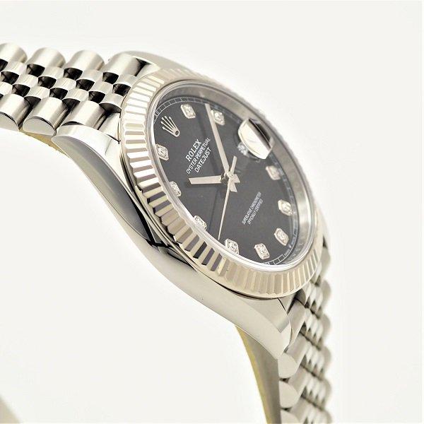 【中古】【国際保証書2020年5月】 ROLEX(ロレックス) デイトジャスト 41 ブラック 10Pダイヤ ランダム品番 126334G