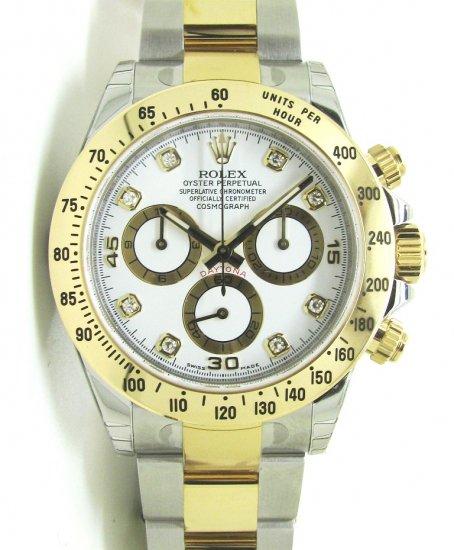 buy popular 672d5 e2479 【新品】ROLEX(ロレックス) デイトナ 8Pダイヤ 白 YG/SS Ref:116523G WH - 六本木 時計専門店PROUD(プラウド)