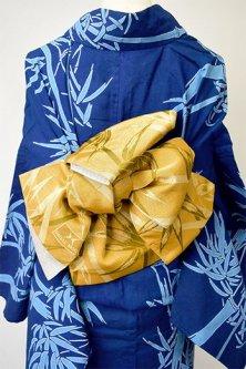 HANAE MORI 芥子色笹の葉揺れる半幅帯