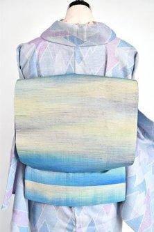 天空の青美しいぼかし織り正絹紬洒落袋帯