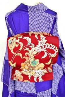 ガーネットレッド花アラベスク水玉模様美しい洒落袋帯