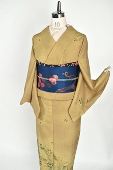 ハーバルカラー更紗染め模様ロマンチックな正絹紬付け下げ着物