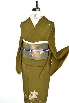 鶯色地に折り鶴と雛人形美しい付下げ着物