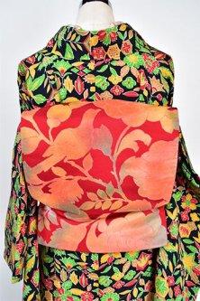 花と鳥のボタニカル装飾模様美しい洒落袋帯