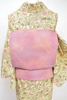 ラベンダーローズのぼかしに霰文様美しい染めつくり帯