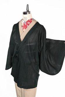 アビスグリーンに波ストライプ透かし編み美しい着物ガウンコート