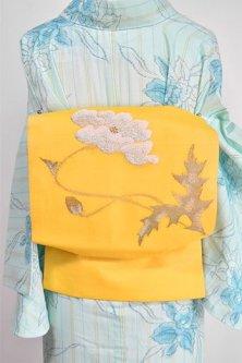カナリアイエローに雛芥子のような花美しい紗のつくり帯