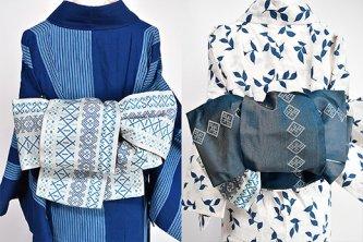 東欧刺繍のようなエスニックボーダーモダンな博多献上風半幅帯(白と青)