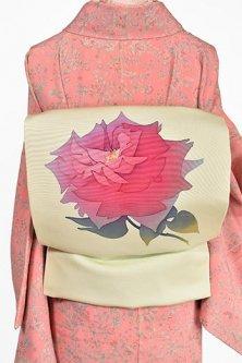 フロスティグリーンに大輪の薔薇美しい正絹塩瀬名古屋帯