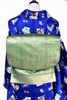 グリーンゴールドにメルヘンチック唐花格子美しい正絹洒落袋帯