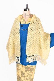 クリームイエロー貝のような模様編みモヘアニットショール