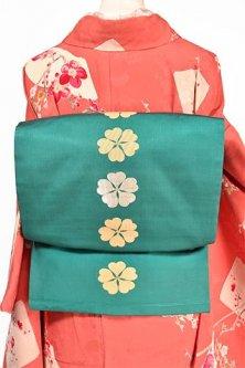 常磐緑に桜かたばみ文様美しい名古屋帯