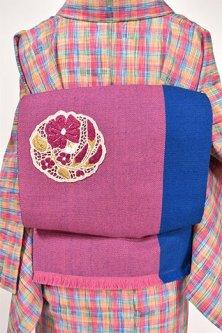 ストロベリーブルーブロックボーダーにボヘミアン刺繍レース飾り美しいウール名古屋帯