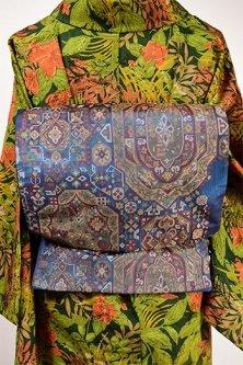ビザンツ・モザイクのようなメルヘンチック装飾模様美しい洒落袋帯