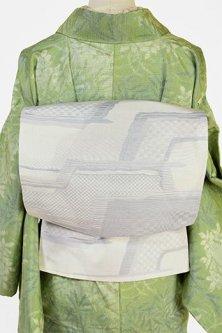 ウィステリアミストグレー霞のような抽象パターンモダンな正絹紬洒落袋帯
