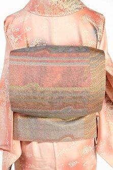 グレイッシュパステルカラーボーダー幻想的な袋帯