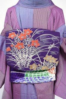 深紫地桔梗の花に虫が鳴く大正浪漫昼夜帯