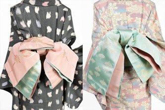 花飾り紐縞美しい半幅帯(パウダリーピンクとミントブルー)