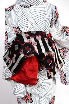 椿ボーダー美しい半幅帯(赤と黒)