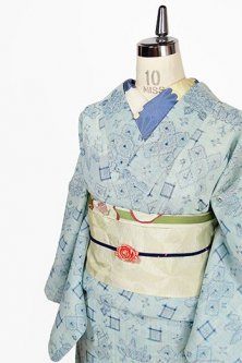 空色地に藍色絣ナチュラルモダンなサマーウール単着物