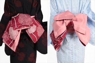 ガーネット色に薔薇の花ロマンチックな半幅帯