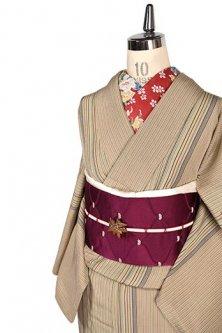 白茶色地に夢二好みの縞模様小粋な正絹縮緬単着物