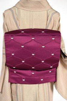 葡萄紫に網目格子小粋な開き名古屋帯