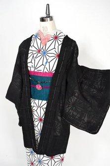 ノーブルブラックにタータンチェック透かし模様涼やかな紗の薄羽織