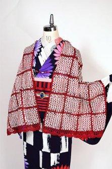 ビーズ羽織紐付レースショール(赤と白のリボン)