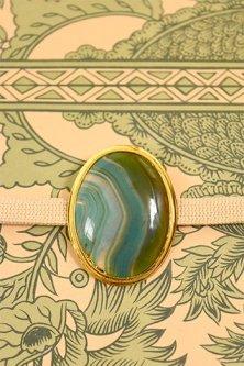 緑瑪瑙のクリップタイプ帯留