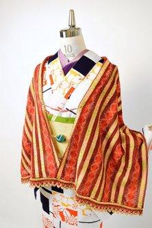 ビーズ羽織紐付きリボンレースショール(ボヘミアン)