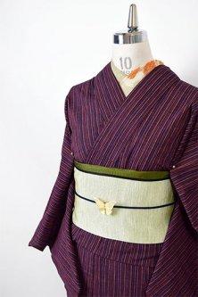 紺と緋の縞模様小粋な夢二好みの木綿紬単着物