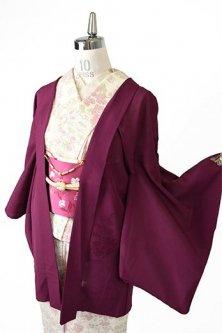 フランボワーズカラーにヨーロピアン刺繍花模様美しい絽の薄羽織